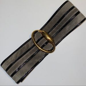 Gucci Grey Suede Black Patent Leather Wide Belt